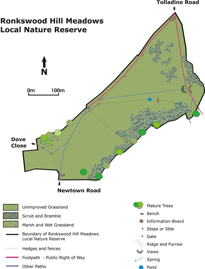 Ronkswood Hill Meadows Local Nature Reserve Site Map