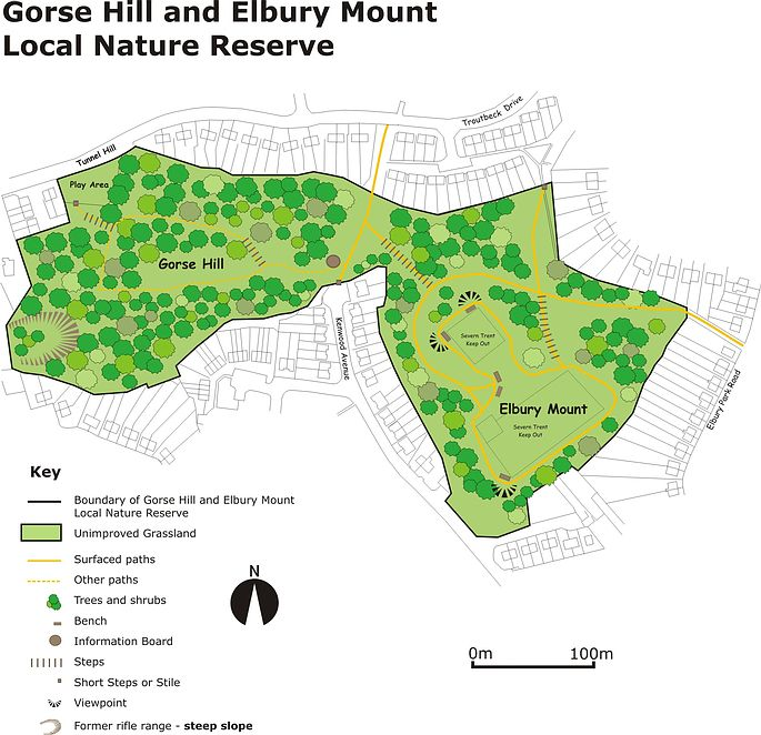 Map of Gorse Hill and Elbury Mount LNR