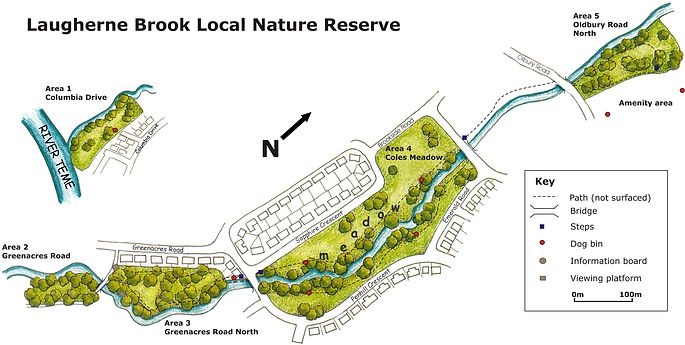 Map of Laugherne Brook LNR