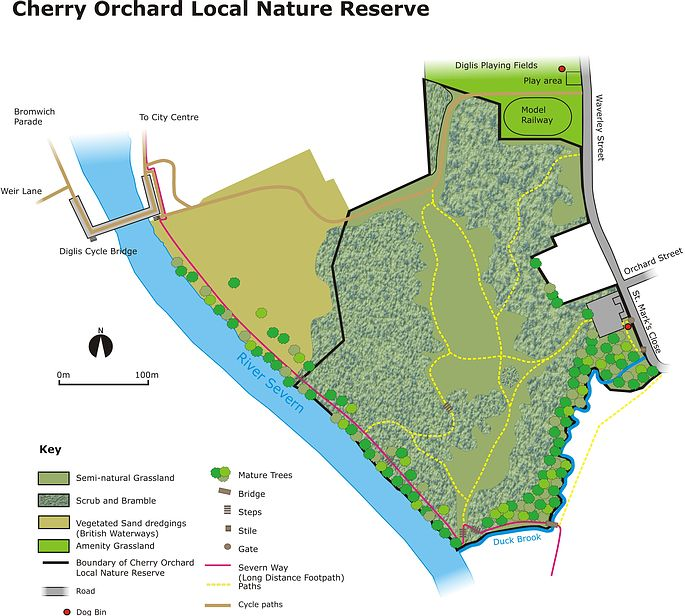 Cherry Orchard Local Nature Reserve Site Map