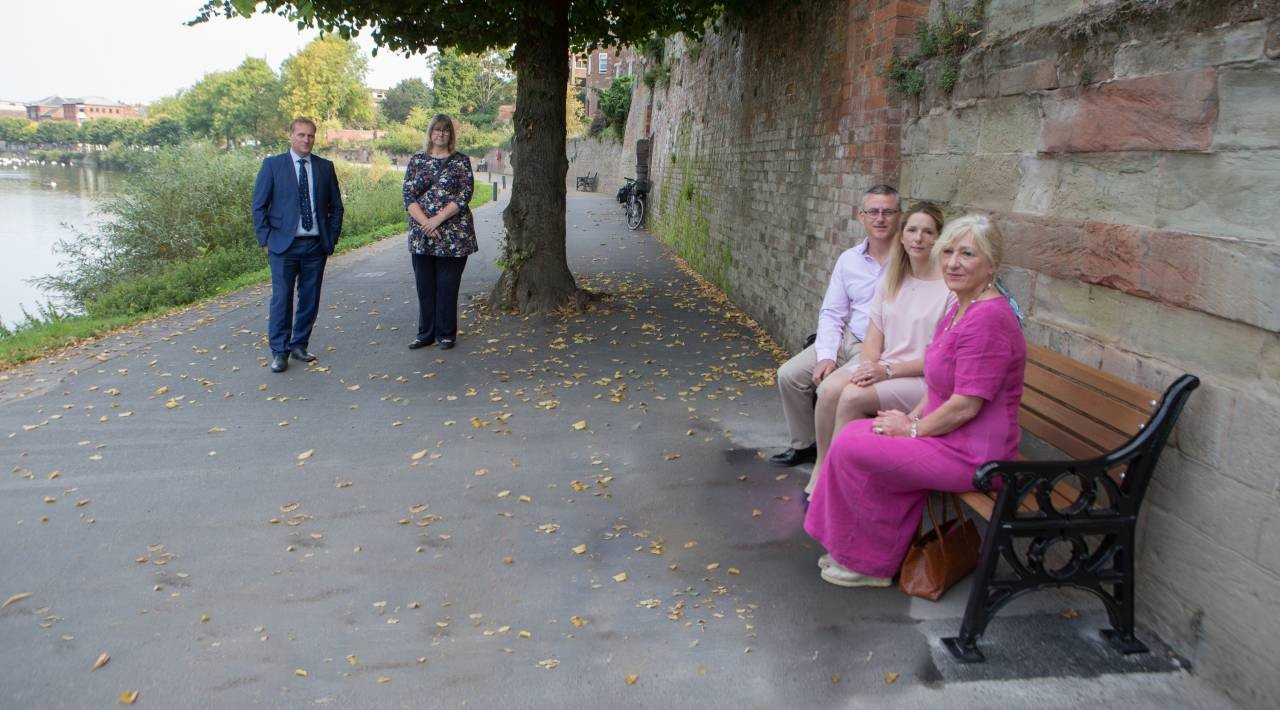 Cecilia-Denlegh-Maxwell-at-unveiling-of-memorial-bench-for-her-late-husband-Stuart