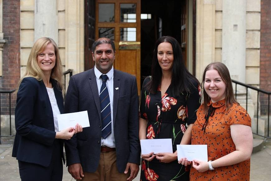 Former Mayor of Worcester Cllr Jabba Riaz presents cheques to (left to right) Sarah-Jane Morgan, Chief Executive of Worcester Live; Ruth Heywood, Worcester Community Trust Acting Chief Executive Officer; and Claire James, St Richard's Hospice fundraiser