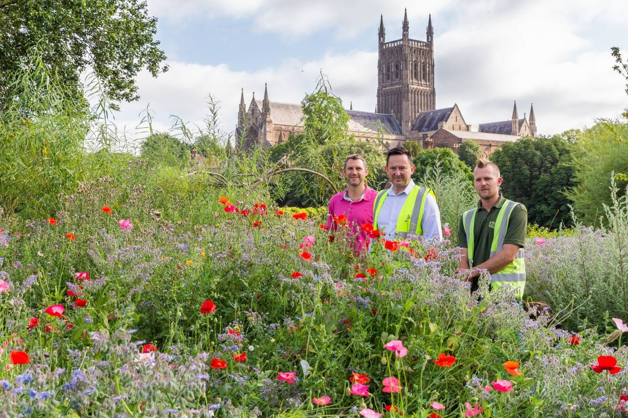 L to R - Clly Andy Stafford, Mark Worrall and Graham Pratt, staff at Worcester City Council who planted wildflowers