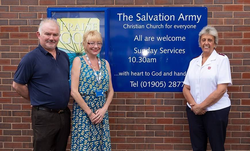 Celebrating the news of the Somewhere Safe to Stay funding are Councillor James Stanley, Chair of Worcester City Council's Communities Committee; Debbie Hodson, Worcestershire Project Manager at CCP; and Major Diane Henderson, Church Leader at the Salvation Army's Worcester Corps