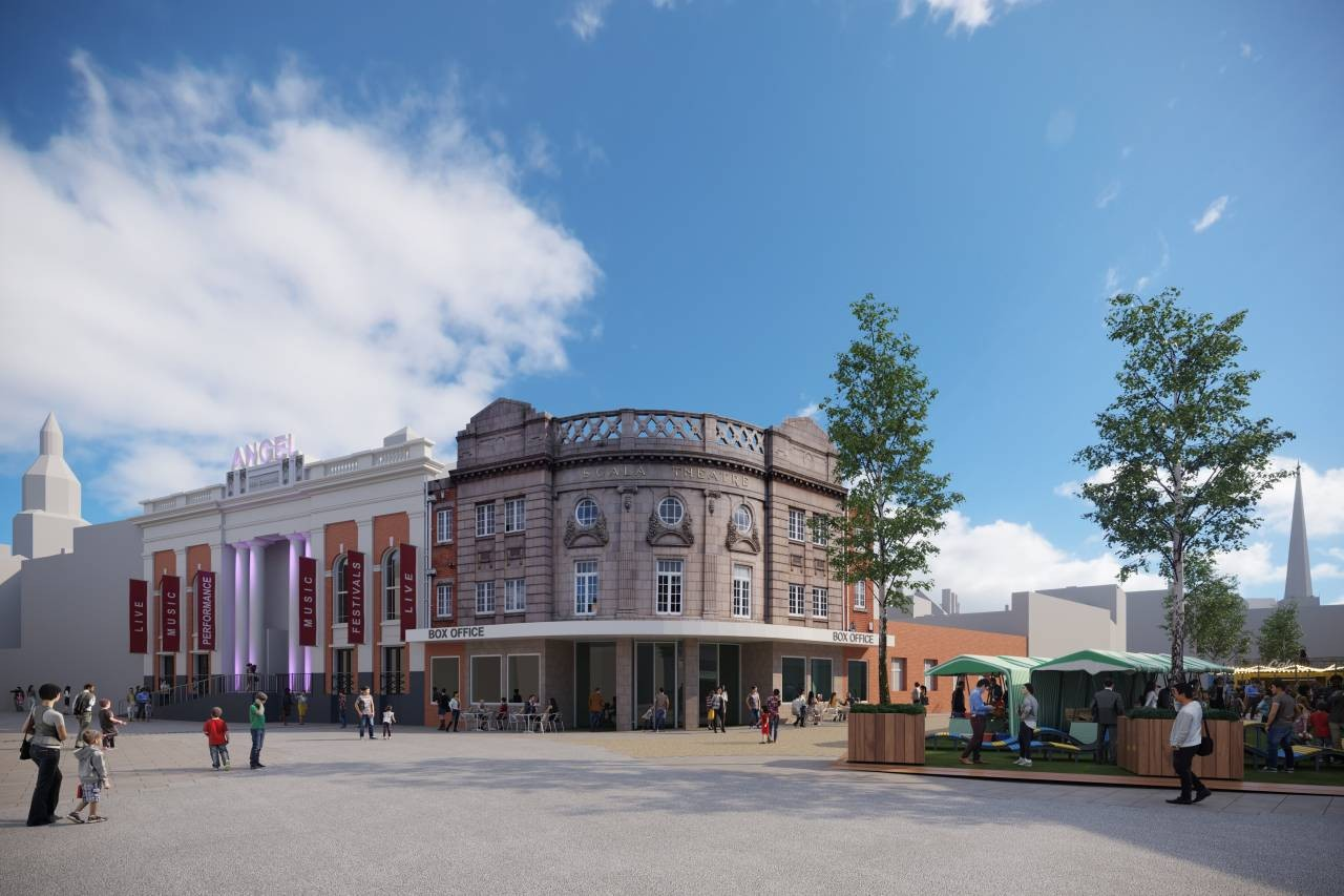 An artist's impression of how the restored and reopened Scala Theatre and Corn Exchange could look