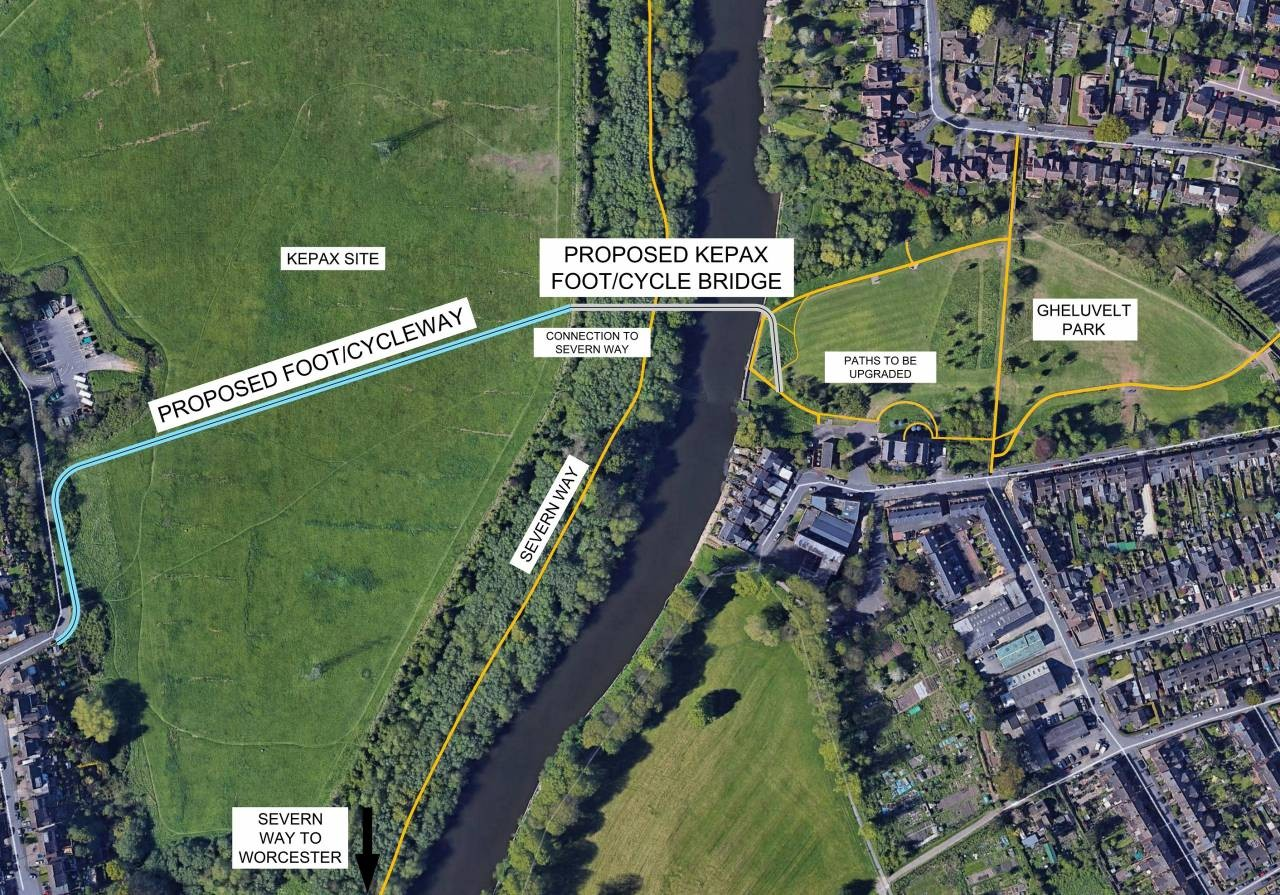 Map showing proposed location of new Kepax walkign and cycling bridge
