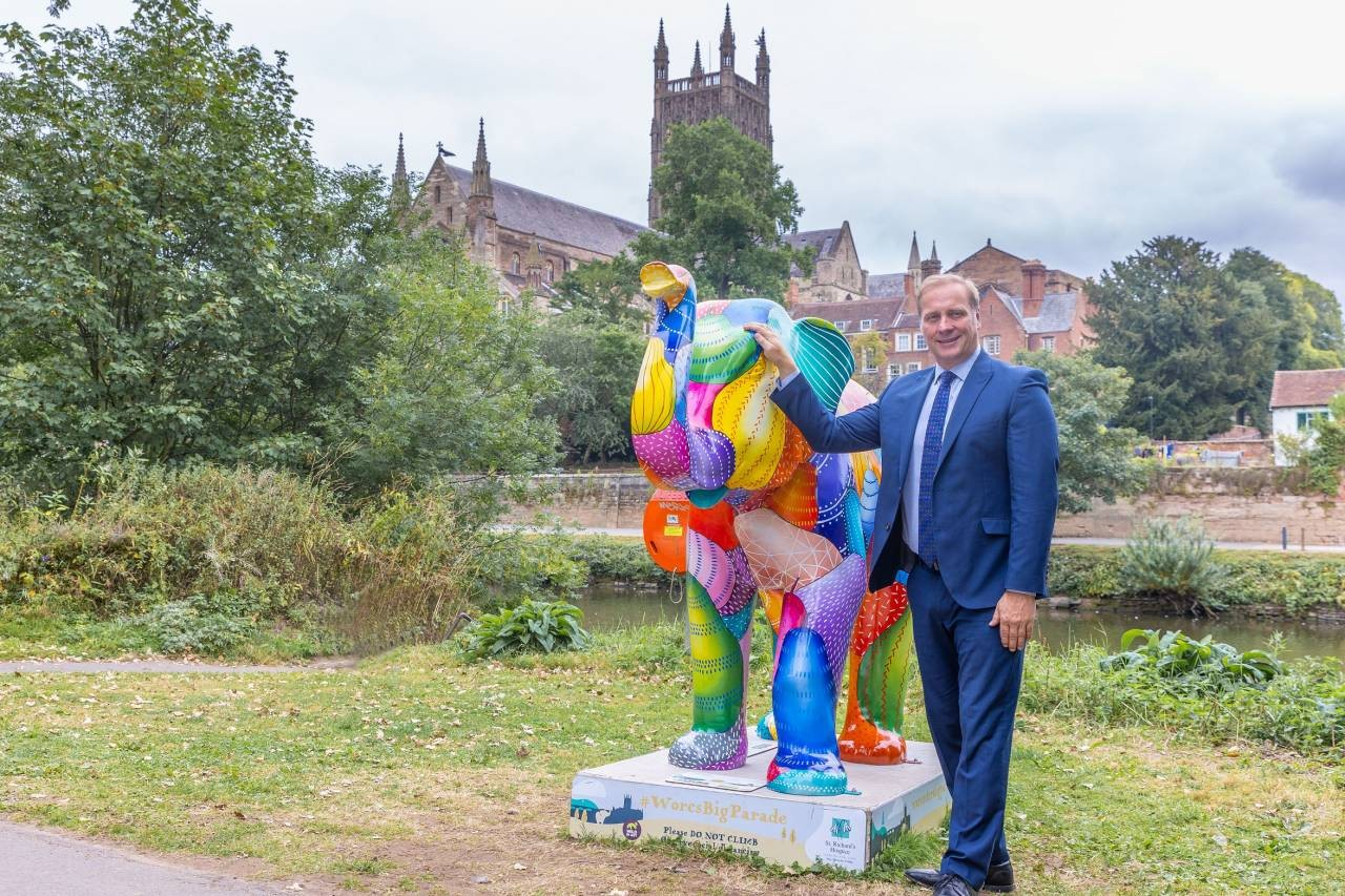 Councillor Marc Bayliss with The Pears elephant, decorated by Sue Guthrie