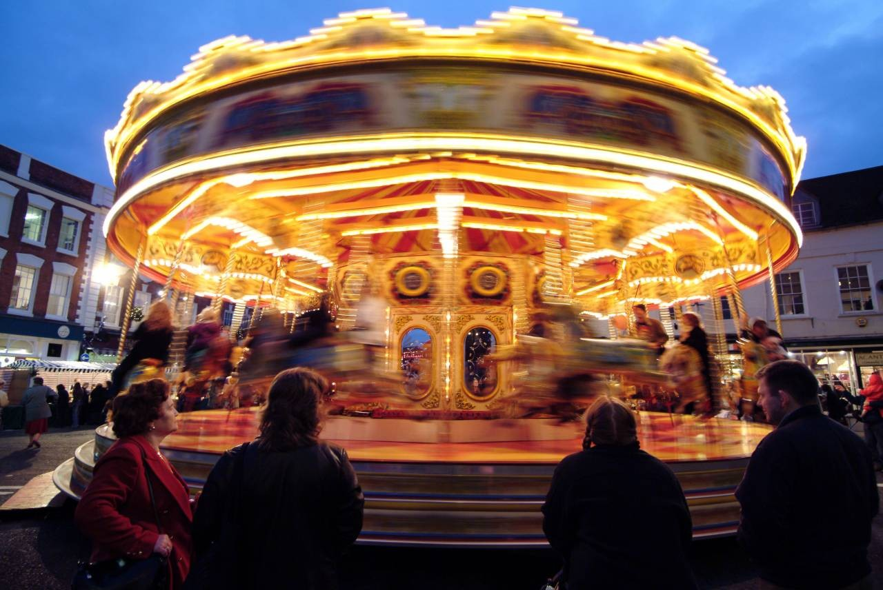 The traditional carousel at Worcester's Victorian Christmas Fayre