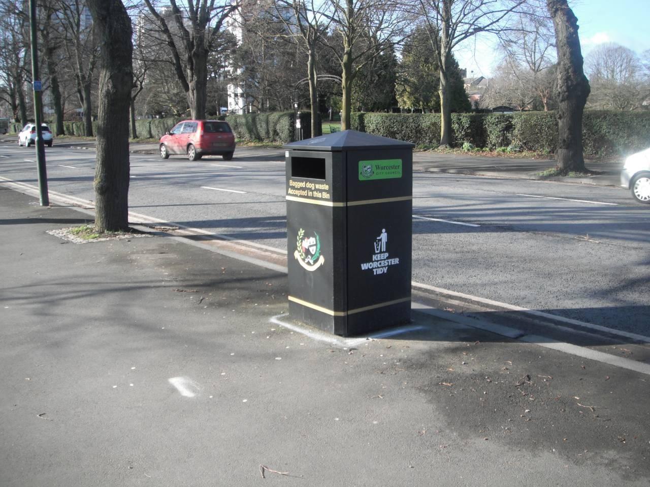 Litter bin in New Road